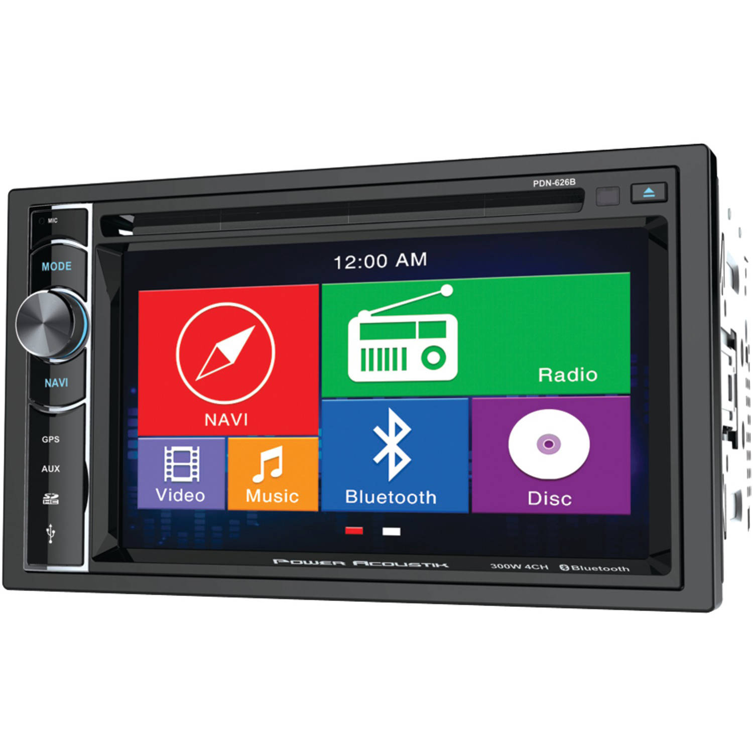 "Power Acoustik PDN-626B 6.2"" Double-DIN In-Dash GPS Navigation LCD Touchscreen DVD Receiver with Bluetooth"
