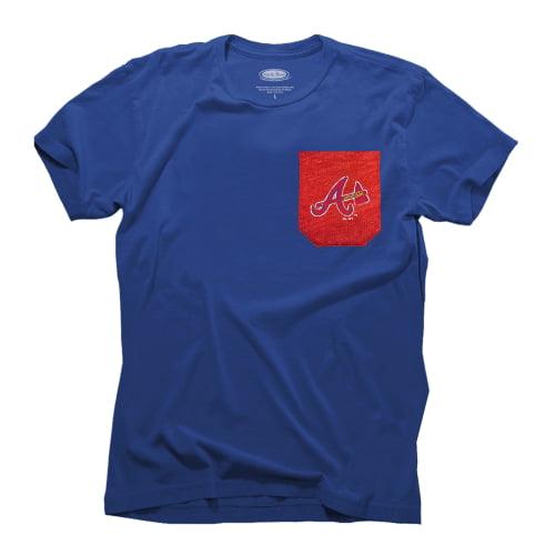 Atlanta Braves Majestic Threads Contrast Color Pocket T-Shirt - Royal Blue