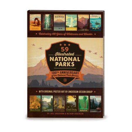 59 Illustrated National Parks - Hardcover : 100th Anniversary of the National Park Service