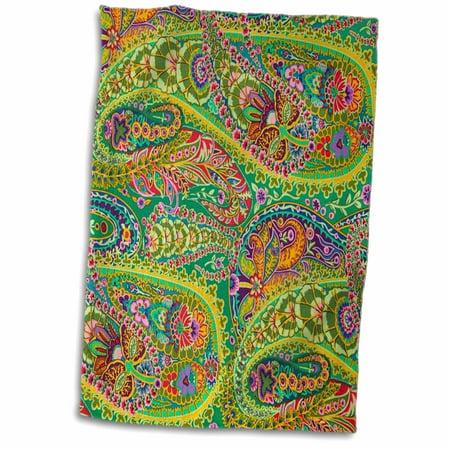 3dRose Lime Hot Pink Orange n Purple Batik Paisley - Towel, 15 by 22-inch