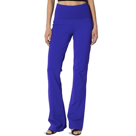 TheMogan Women's S~3X Thick Stretch Cotton Foldover Waist Bootcut Yoga (Stretch Organic Cotton Yoga Pants)