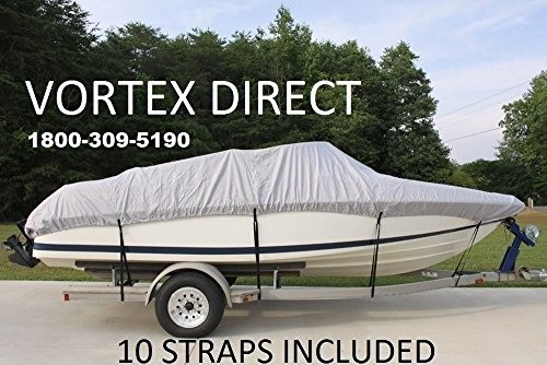 VORTEX HEAVY DUTY VHULL FISH SKI RUNABOUT COVER FOR 14 15 16' BOAT, BEST AVAILABLE COVER GRAY by Vortex