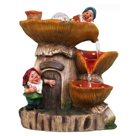 - SINTECHNO Two Cute Gnomes Tabletop Cottage Water Fountain