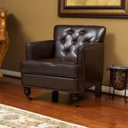 Noble House Lucca Tufted Brown Bonded Leather Club Chair