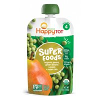 (5 pack) Happy Tot Superfoods Organic Pears, Peas & Green Beans + Super Chia Fruit & Veggie Blend 4.22 oz. Pouch