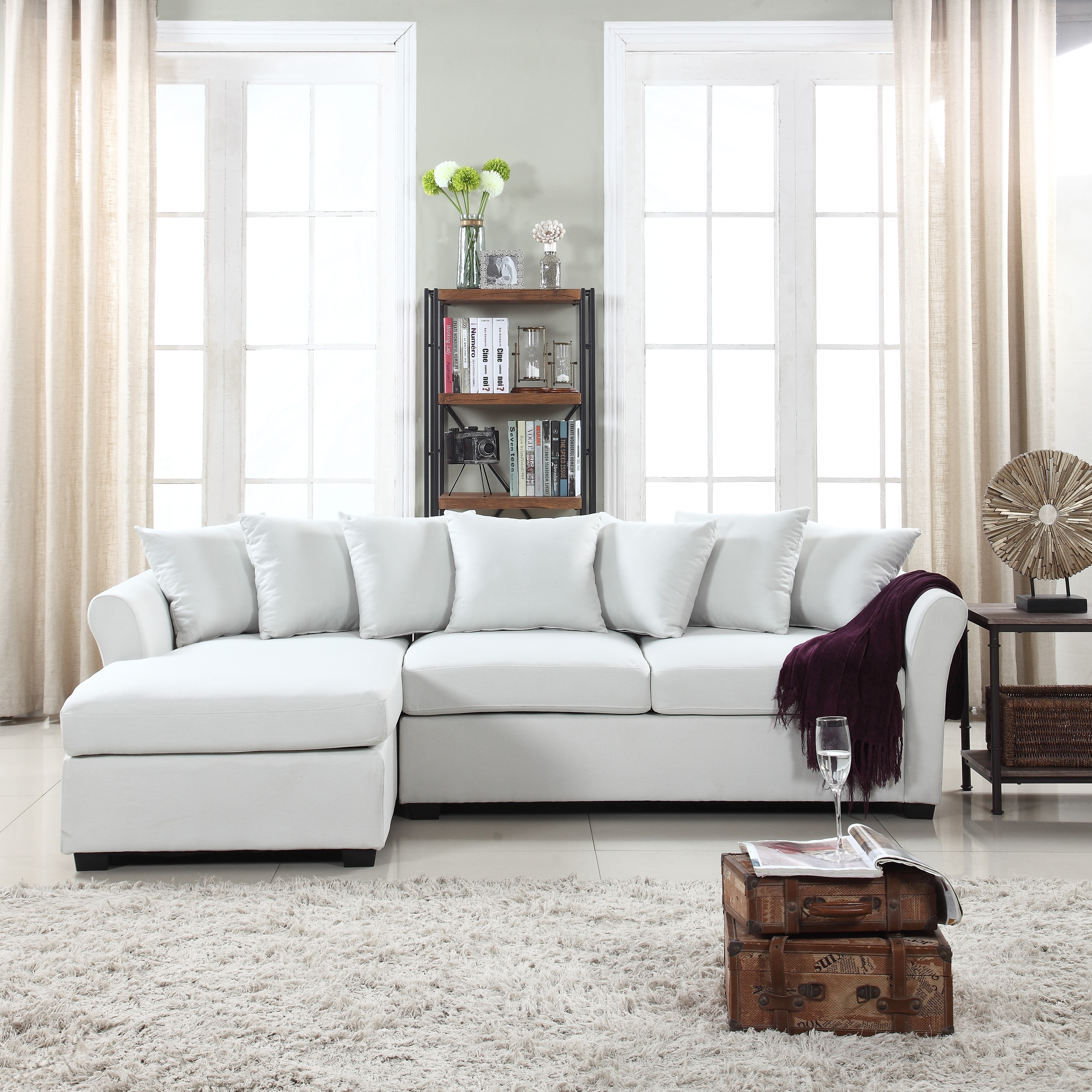 Modern Large Linen Sectional Sofa With Extra Wide Chaise Lounge