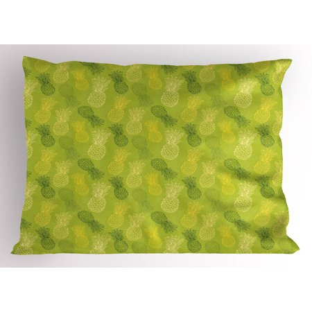 Green Leaf Pillow Sham Hand Drawn Style Exotic Pineapple Fruit Tropical Summer Theme, Decorative Standard Size Printed Pillowcase, 26 X 20 Inches, Apple Green Fern Green Yellow, by Ambesonne ()