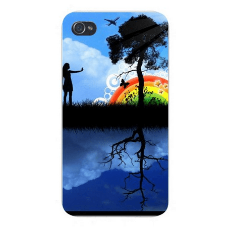 - Apple Iphone Custom Case 4 4s Snap on - Tree Silhouette w/ Rainbow, Girl, Butterfly, & Jet Airplane