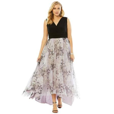 45a57ae16d1 Roamans - Plus Size Printed High Low Dress - Walmart.com