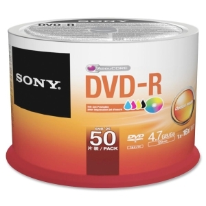 Sony DVD Recordable Media - DVD-R - 16x - 4.70 GB - 50 Pack Spindle - Bulk - 120mm - Printable - Inkjet Printable