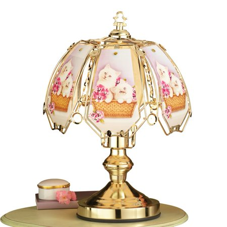 - Adorable Kittens Tabletop Touch Lamp with Gold Base and Accents, 3 Light Settings