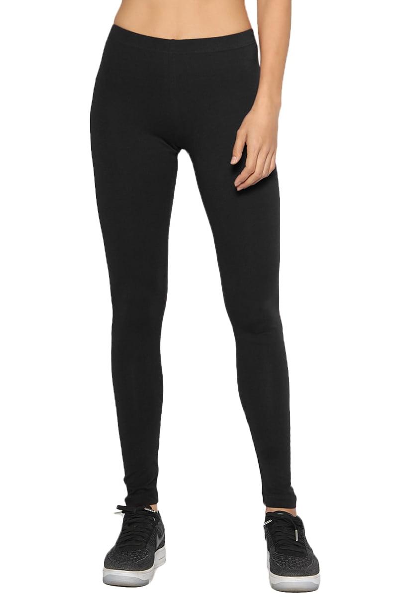 TheMogan Junior's S~3X Basic Plain Lightweight Cotton Ankle Full Leggings Tights