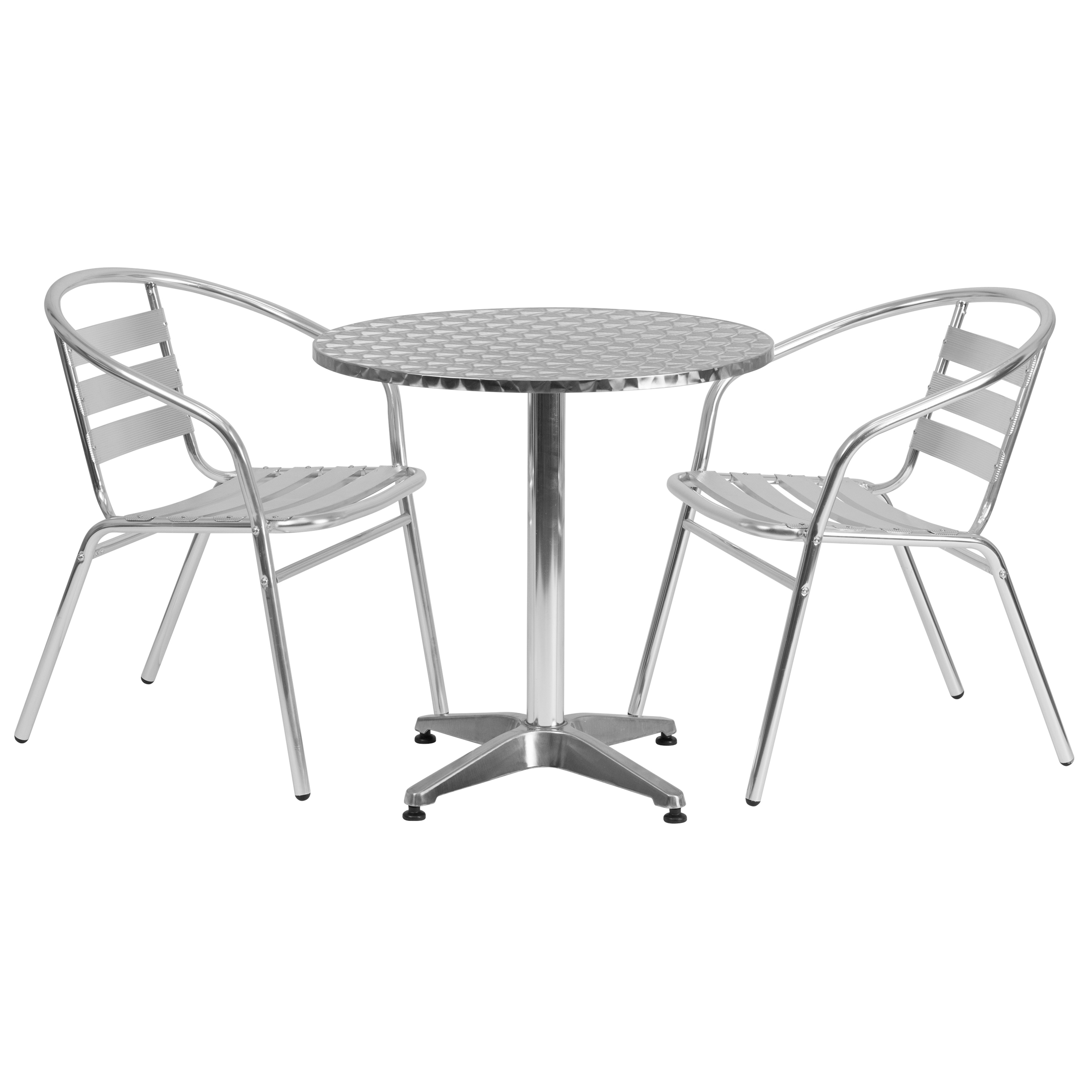 Flash Furniture 27.5-foot Round Aluminum Indoor/ Outdoor Table with 2 Slat Back Chairs