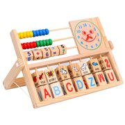 LNKOO Wooden Abacus Toy Multi-Function Clamshell Abacus Smiley Face Clock Computing Children Learning Educational Toys