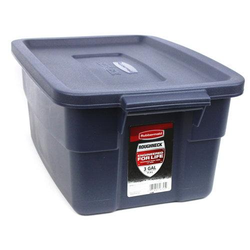 Rubbermaid Roughneck 3-Gallon Box, Dark Indigo Metallic