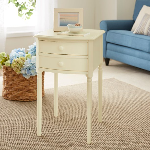Amindal Tall Farmhouse Accent Table with Storage, Antique White