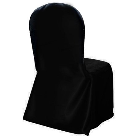 BalsaCircle Black Polyester Satin Crepe Back Chair Cover - Party Wedding Reception Home Dining Catering Decorations Supplies
