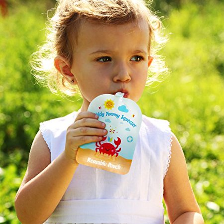 Reusable Food Pouch - Refillable Baby Squeeze Pouches Kids of All Ages Love, Pack of 6 Large Pouches - image 6 of 8
