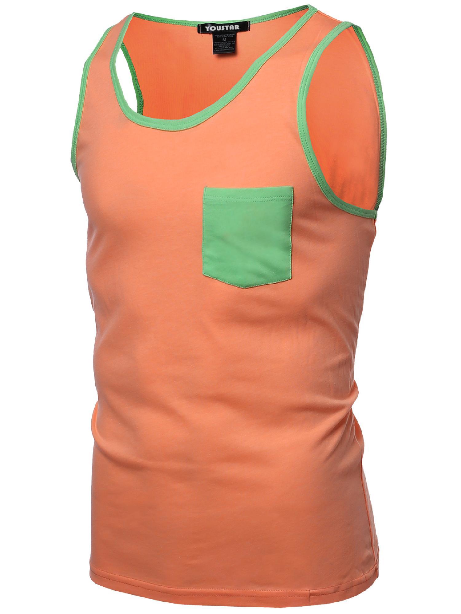 FashionOutfit Men's Neon Color Contrast Pocket Round Neck Tank Tops