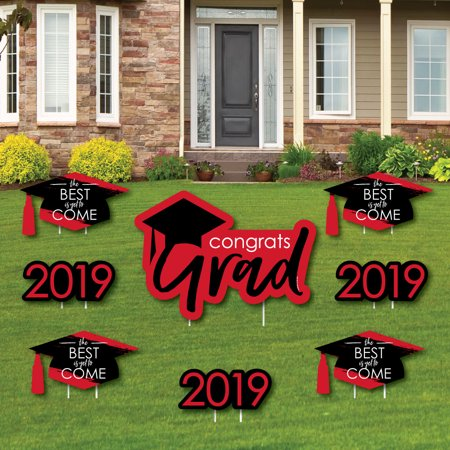 Red Grad - Best is Yet to Come - Yard Sign & Outdoor Lawn Decorations - Red 2019 Graduation Party Yard Signs - Set of - Graduation Yard Signs