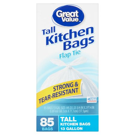 Great Value Flap Tie Closure Tall Kitchen Bags  13 Gal  85 Ct