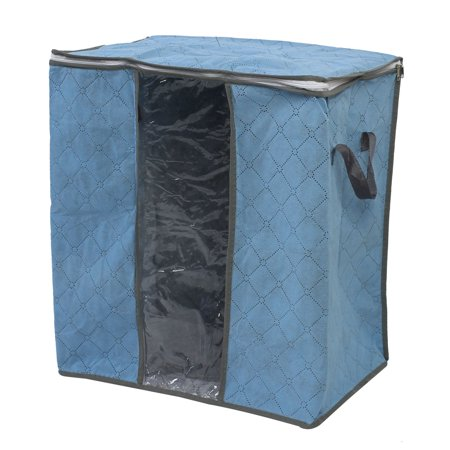 Family Quilt Clothes Non Woven Fabric Dustproof Zippered Storage Bag Pale Blue (Quilting Basket)