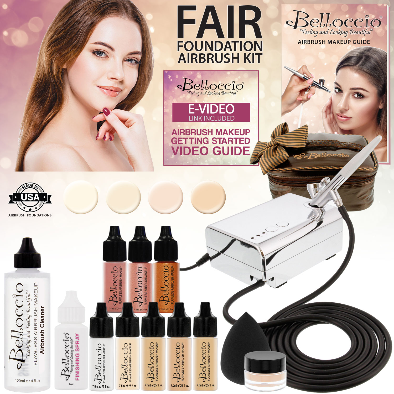 Belloccio Professional Fair Shade AIRBRUSH COSMETIC MAKEUP SYSTEM Holiday Kit