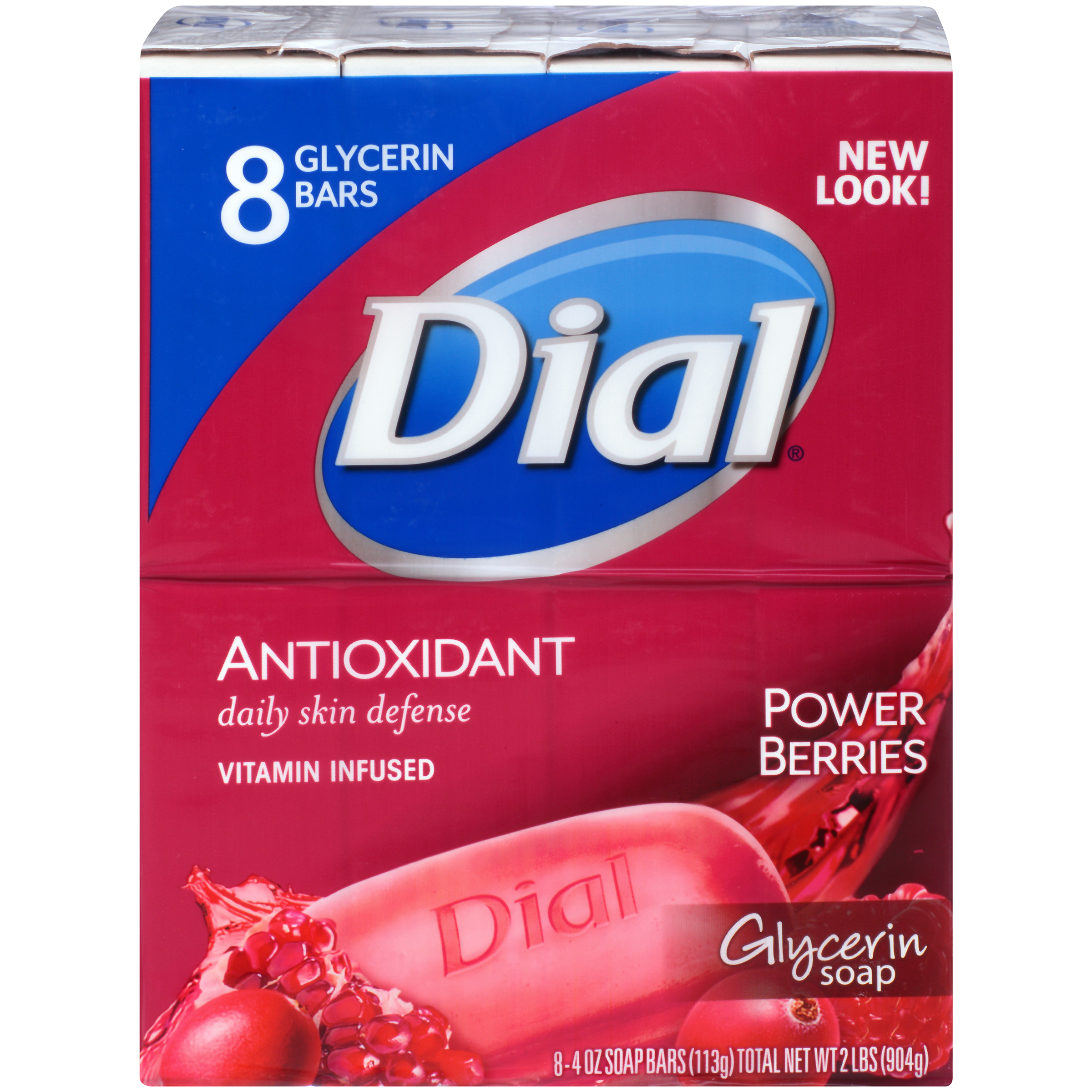 Dial Glycerin Bar Soap, Power Berries, 4 Ounce Bars, 8 Count