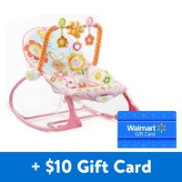 [$10 Savings] Fisher Price Infant-to-Toddler Rocker, Pink Bunny with Removable Toy Bar with Free $10 Gift Card