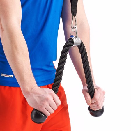 Walfront 28 Inch Tricep Rope, Heavy Duty Coated Nylon Rope With Solid Rubber Ends And Chrome Plated Attachment, Gym Tricep Rope Pulldown Connects To Any Universal Gym