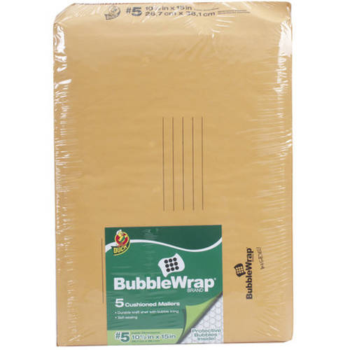 "Duck Brand 5pk 10.5"" x 15"" Kraft Bubble Mailer"
