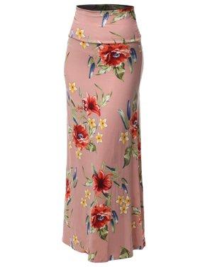 FashionOutfit Women's Stylish Fold Over Flare Long Maxi Skirt