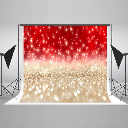 HelloDecor Polyster 7x5ft Sequins Photography Backdrops Red and Golden Color Background Photo Backdrop for Baby