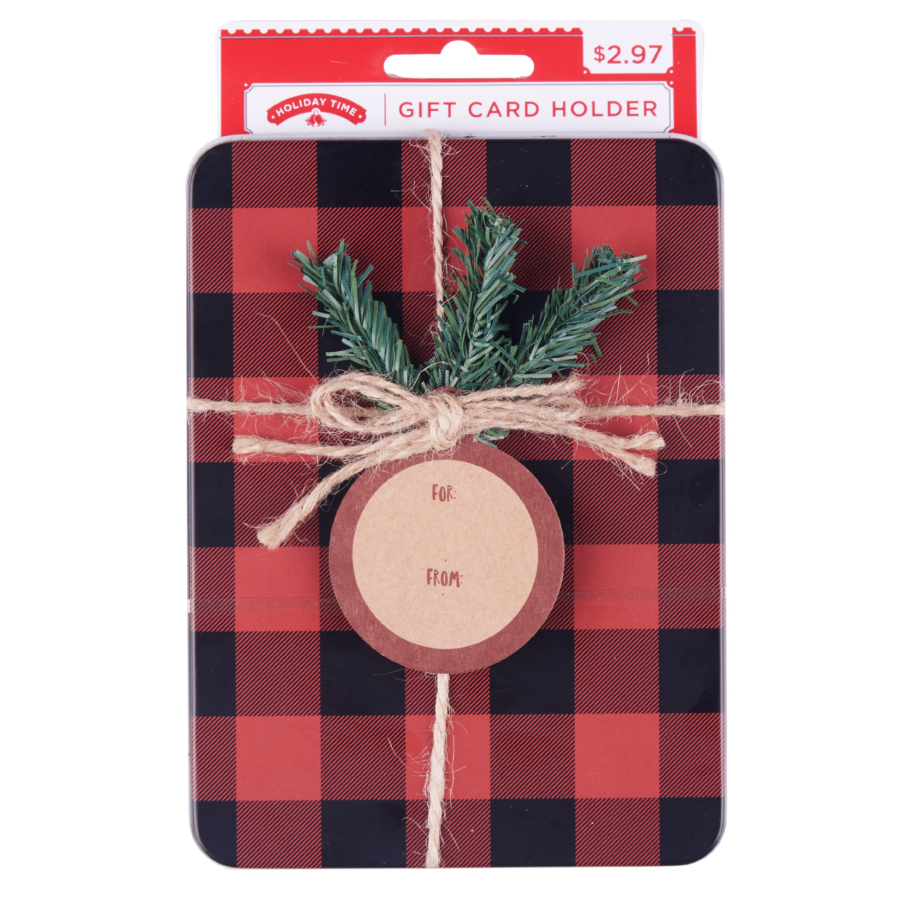 Holiday Time Red & Black Plaid Gift Card Holder