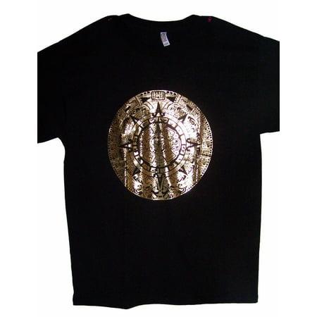 Aztec Calendar Gold Screen Printed Black T-Shirts (MXTS108-M)
