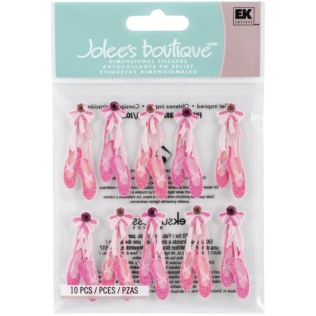 Jolee's Boutique Dimensional Stickers-Ballerina Slippers
