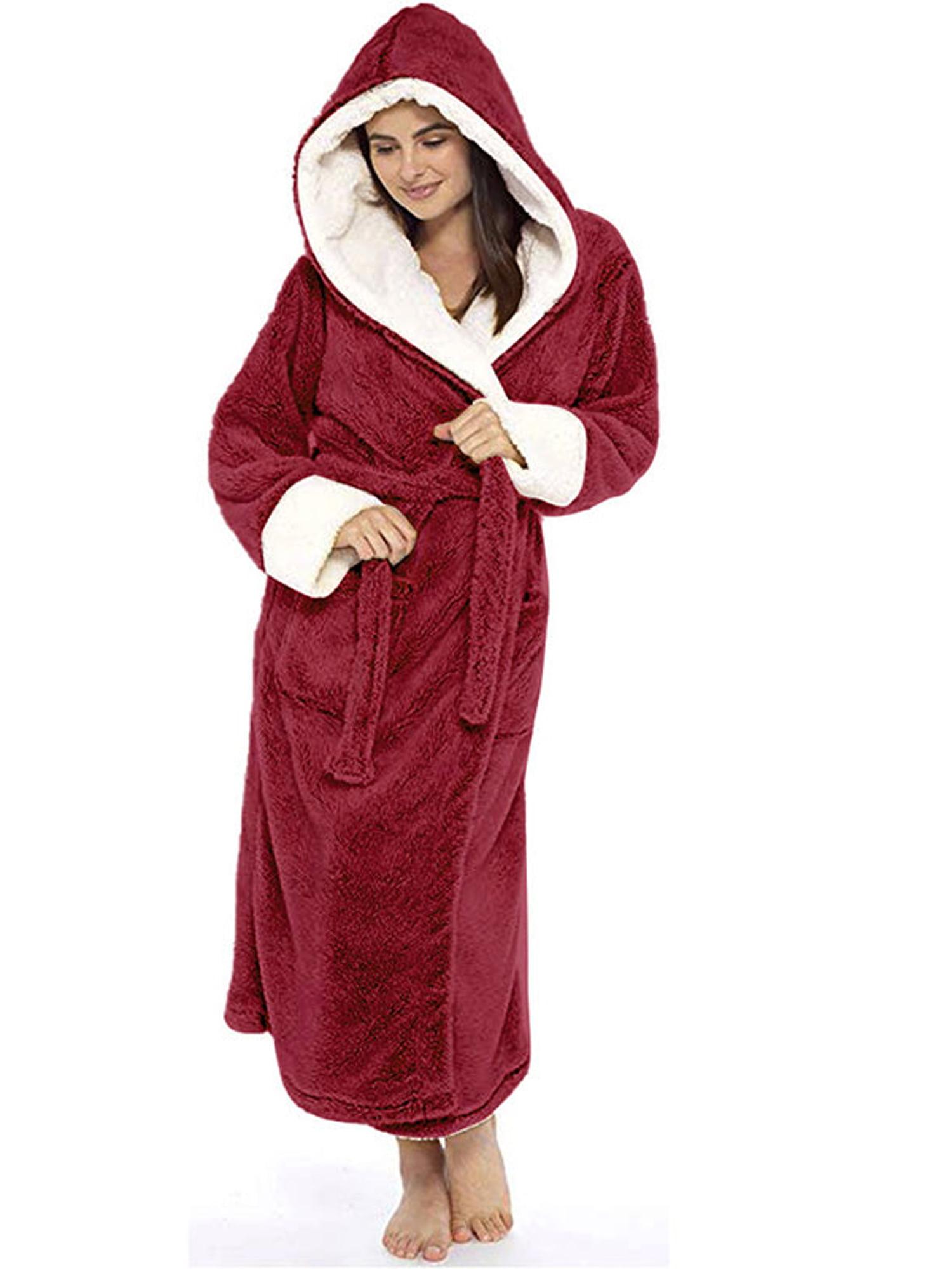 Men/'s Flannel Fleece Fluffy Plush Hooded Dressing Gown Winter Robe Sizes 3XL-5XL