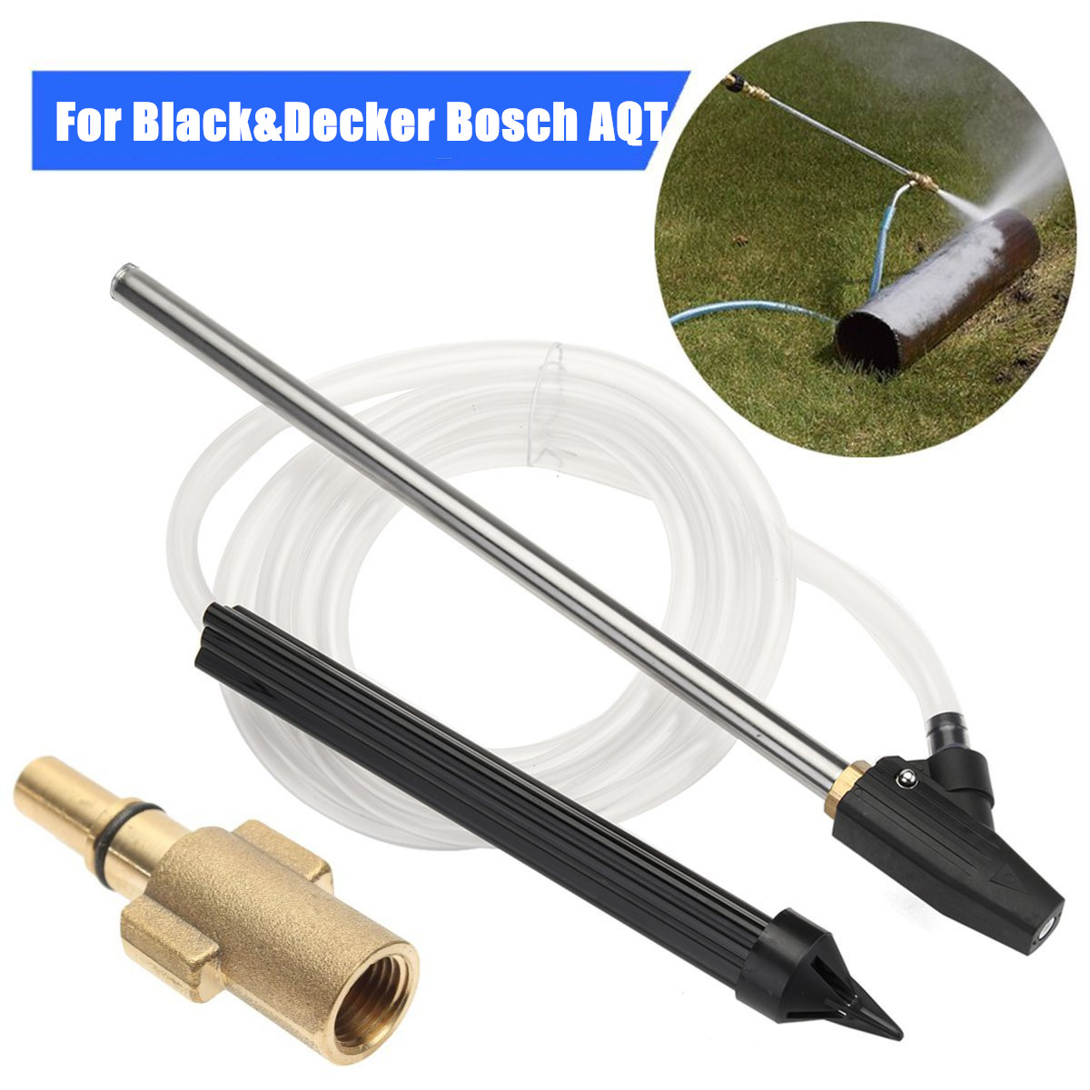"High Pressure Washer Sand Wet Blaster Blank&Decker Sand blasting Kit +For BOSCH AQT Black and Decker Foam Lance Adapter 1/4"" Male"