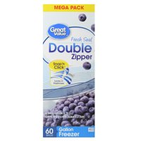 Great Value Double Zipper Freezer Bags, Gallon, 60 Count