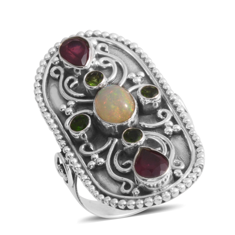 Welo Opal Multi Gemstone Sterling Silver Ring Size 10 by Shop LC