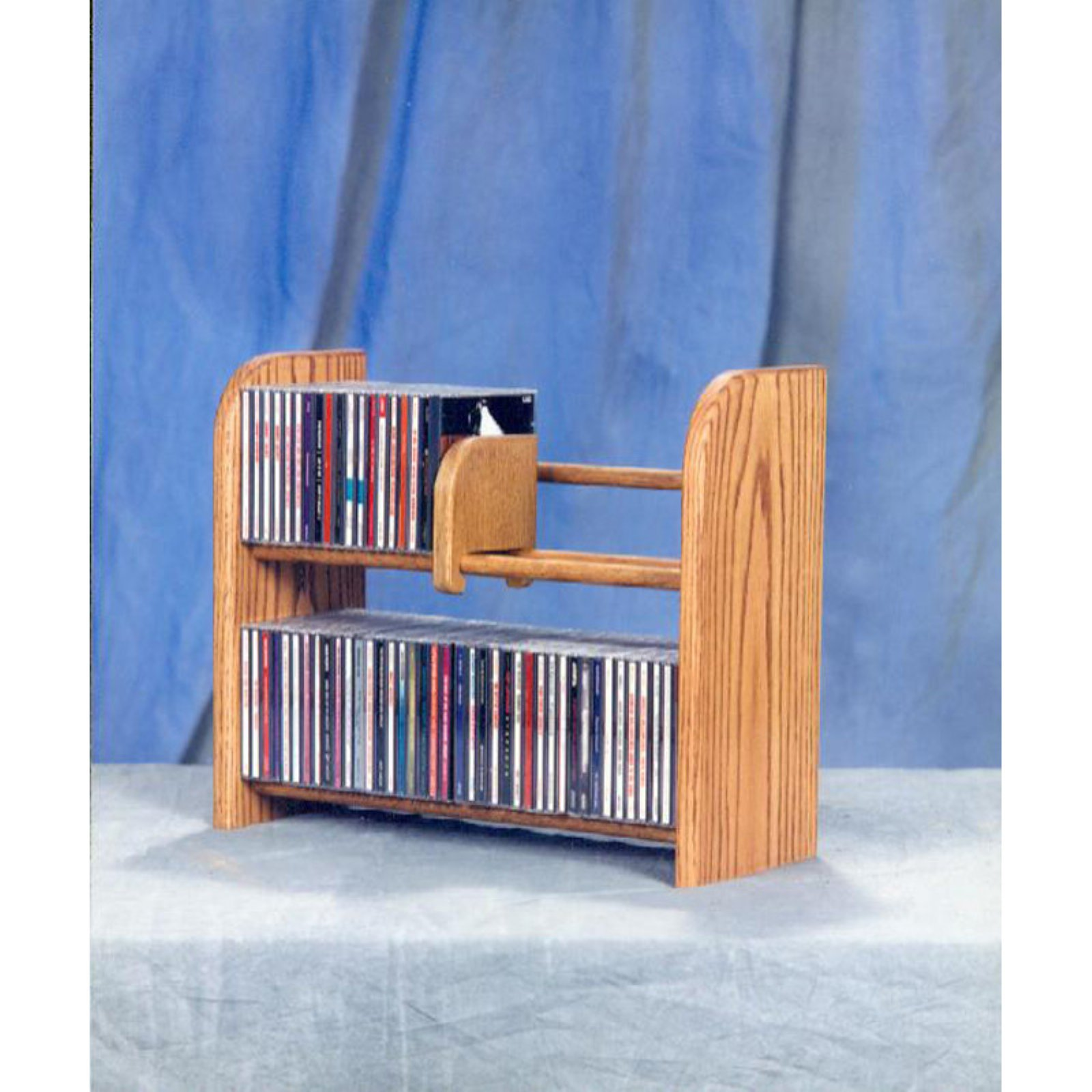 The Wood Shed Solid Oak 2 Row Dowel 84 CD Media Rack