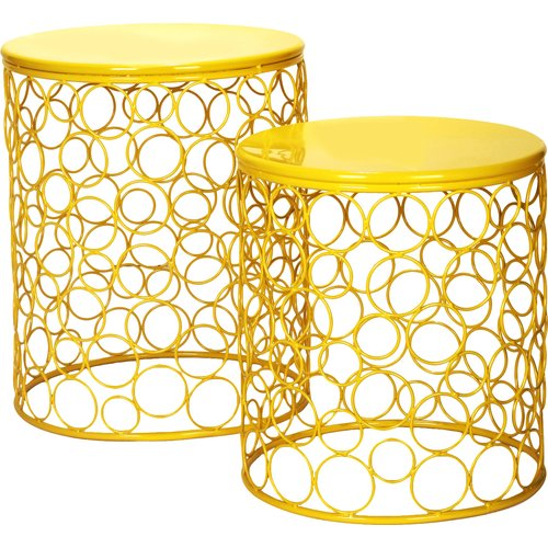 Adeco Trading 2 Pieces Home Garden Accent Wire Round Stool (Set of 2) by Supplier Generic