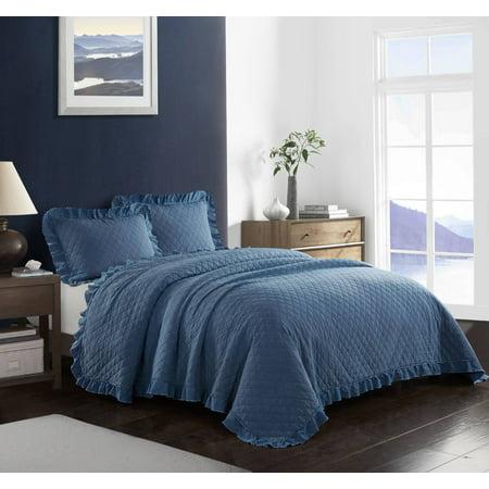 Better homes & gardens acid wash ruffle quilt set, King Blue