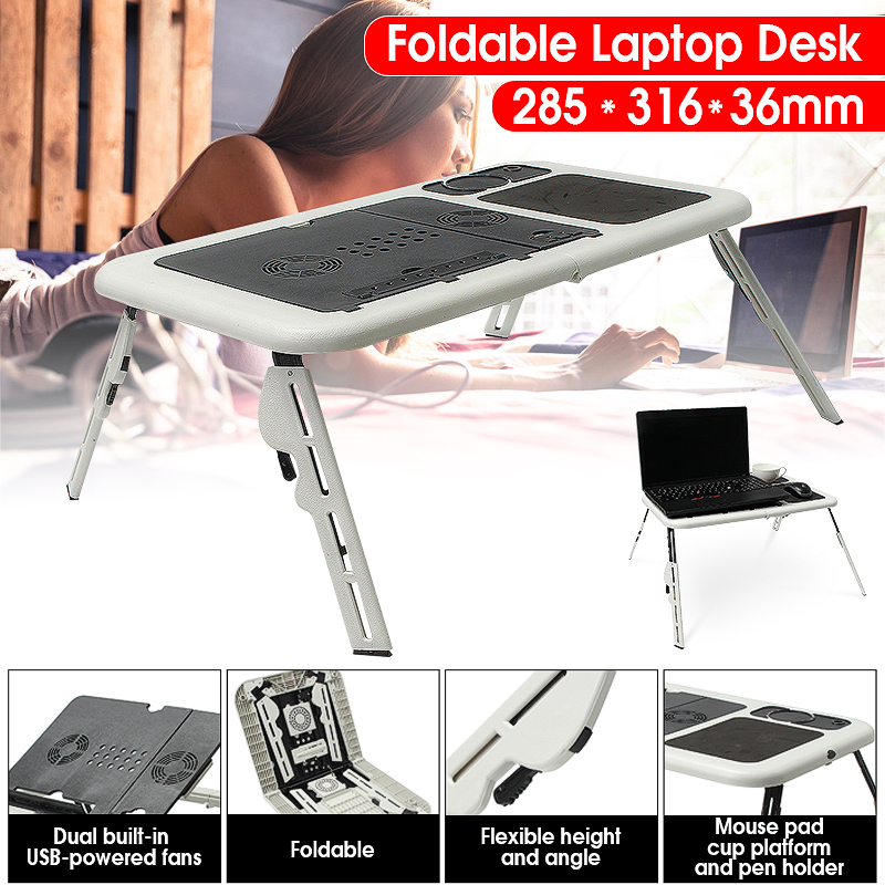 Folding Laptop Notebook Table Stand Tray Desk With USB Cooling Fans For Sofa Bed Carpet Lawn