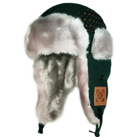 City Hunter Kw140 Dot Premium Wool Kids Trapper Bomber Hat - Hunter Green