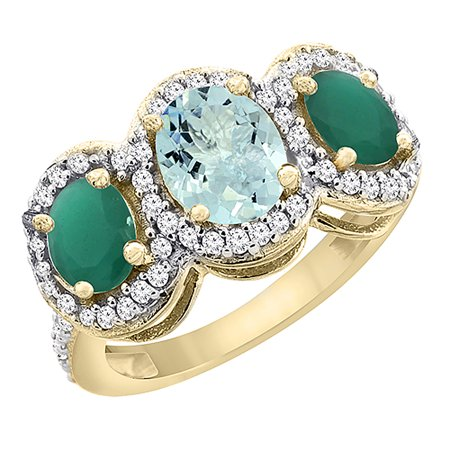 10K Yellow Gold Natural Aquamarine & Emerald 3-Stone Ring Oval Diamond Accent, size (Natural Aquamarine Emerald)