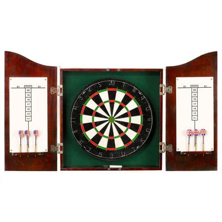 Hathaway Centerpoint Solid Wood Dartboard & Cabinet Set - Dark Cherry