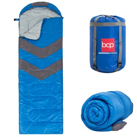 Best Choice Products 4-Season Water-Resistant 20F Portable Envelope Sleeping Bag Compression Sack Carrying