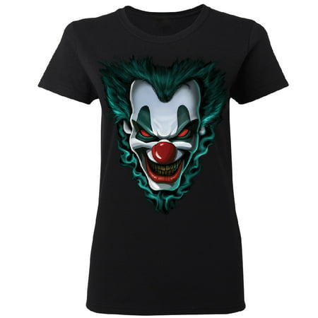 Psycho Clown Joker Face Women's T-shirt Funny Halloween 2017 Costume Tee Black Small](Halloween Stores Near Me 2017)