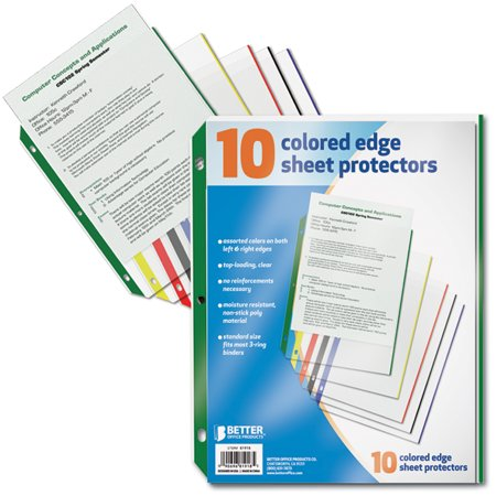 Better Office Products Color Edge Sheet Protectors - 10 Count Pack ...